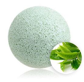 100% NATURAL AND VEGAN PUFF SPONGE FOR FACE AND BODY - GREEN TEA KONJAC SPONGE