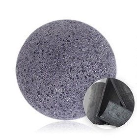 100% NATURAL AND VEGAN PUFF SPONGE FOR FACE AND BODY - ACTIVE CHARCOAL KONJAC SPONGE